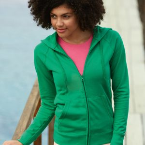 Fruit Of The Loom Lady-Fit Lightweight Raglan Hooded Sweat Jacket