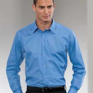 Russell Collection Men's Long Sleeve Polycotton Easy Care Tailored Poplin Shirt