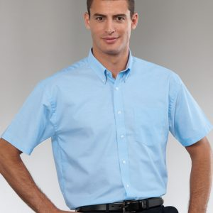 Russell Collection Men's Short Sleeve Easy Care Oxford Shirt