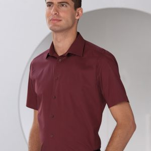 Russell Collection Men's Short Sleeve Easy Care Fitted Shirt