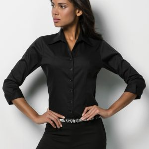 Kustom Kit Ladies' 3/4 Sleeve Corporate Oxford Shirt