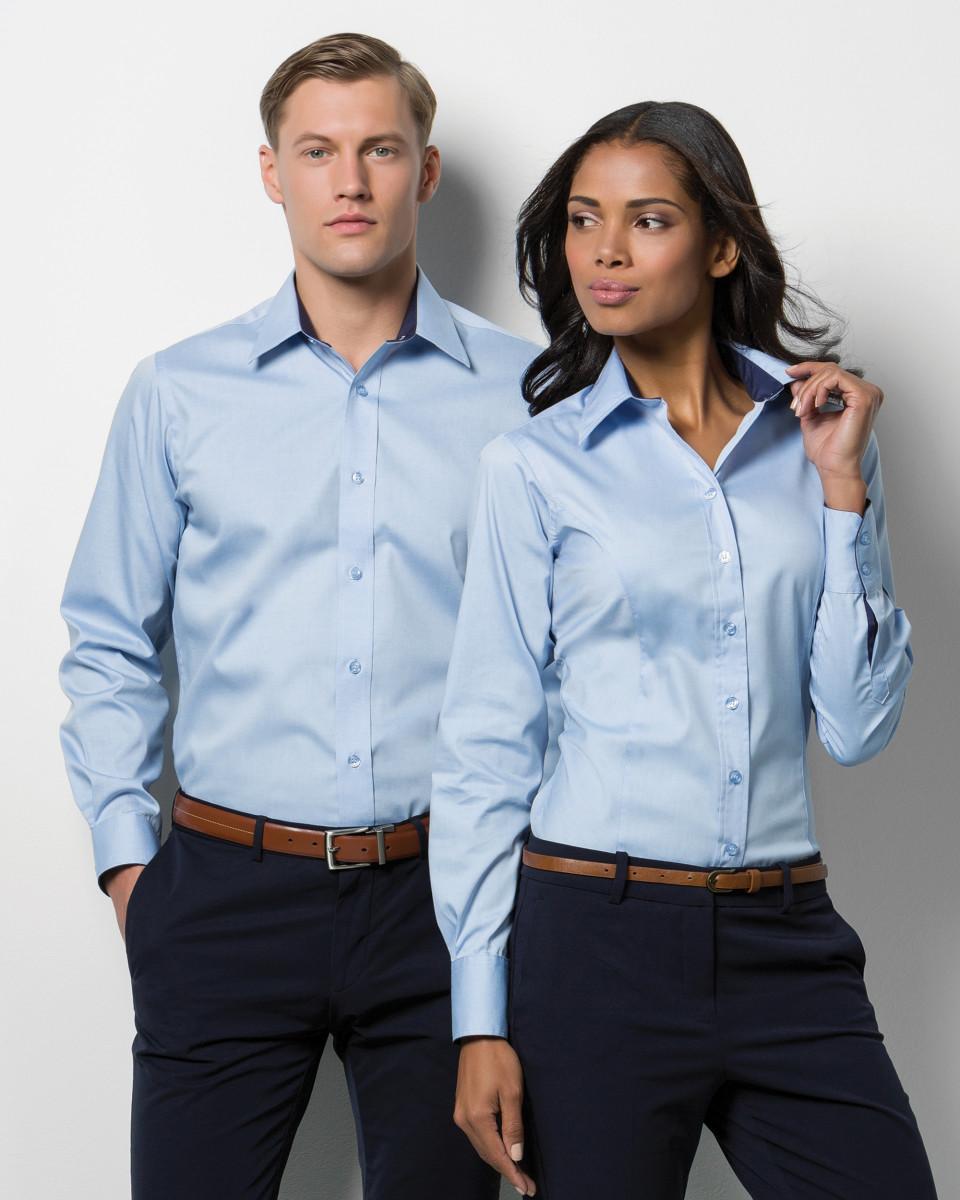 58251c50561 Kustom Kit Ladies  Contrast Premium Long Sleeve Oxford Shirt ...