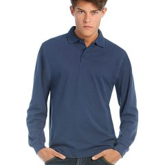 B and C Heavymill Long Sleeved Fine Piquツ Polo Shirt
