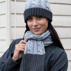 Result Winter Essentials Shades of Grey Knitted Scarf